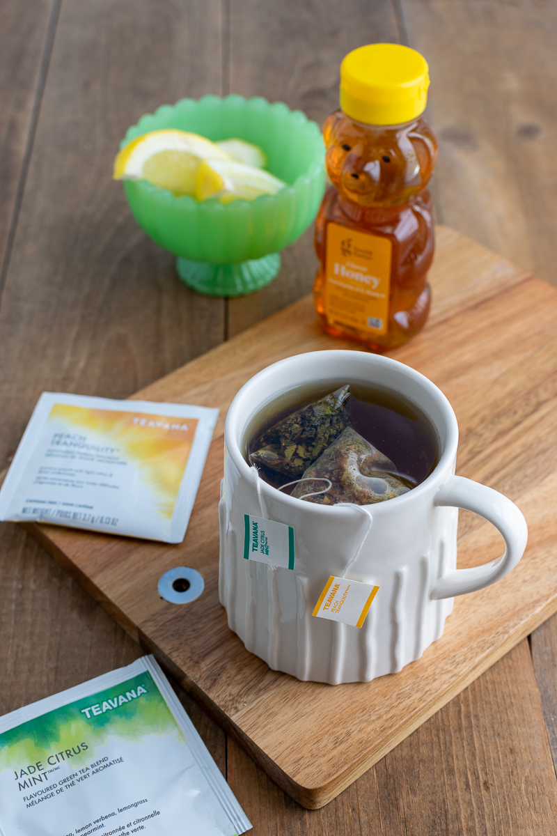 medicine ball tea made with peach tranquility and jade citrus mint tea bags