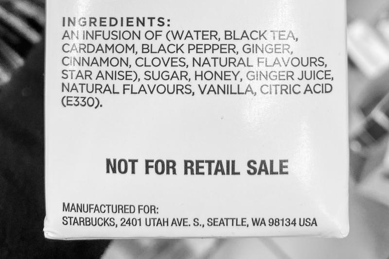 étiquette du carton de concentré de chai Starbucks